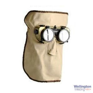 "Long Leather Welding Mask with 2"" Goggles (Monkey Mask)"